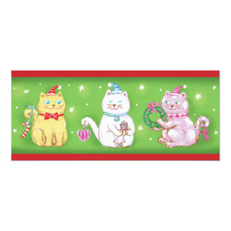 Cute Cartoon Meowy Christmas Cats in Santa Hats Card