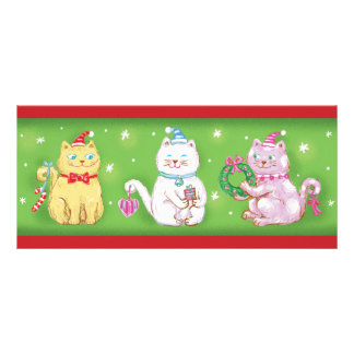 Cute Cartoon Meowy Christmas Cats in Santa Hats Rack Card