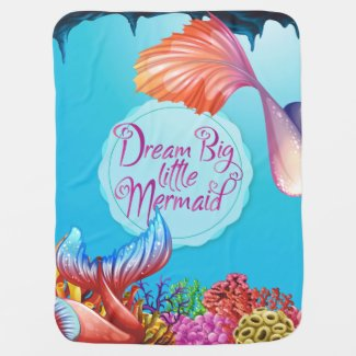 Cute cartoon Mermaid design Baby Blanket