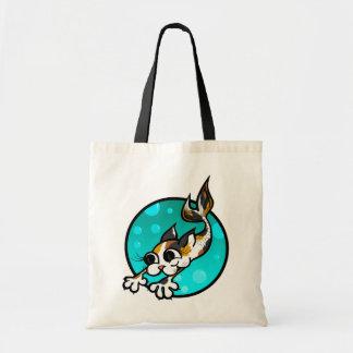 CUTE CARTOON MERMAID KITTY CAT TOTE BAG