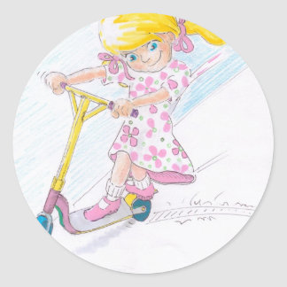 Cute Cartoon Microscooter Girl Micro Scooter Stickers