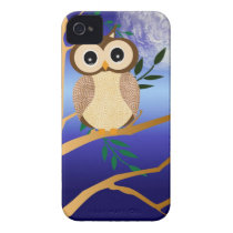 Cute cartoon midnight owl Case-Mate iPhone 4 case
