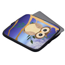 Cute cartoon midnight owl laptop sleeve