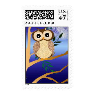 Cute cartoon midnight owl postage