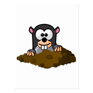 Cute Cartoon Mole Popping Up Out of the Ground Postcard