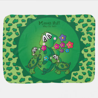 Cute Cartoon Momma Turtle and her Babies Swaddle Blanket