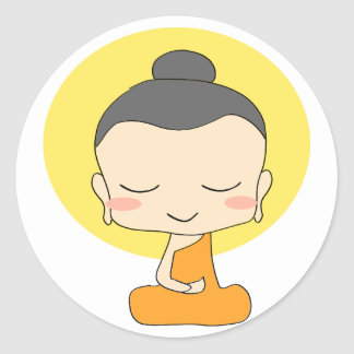 Cute Cartoon Monk Meditating Sticker