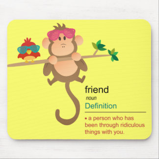 Cute Cartoon Monkey and Bird with Fashion Shades Mouse Pad