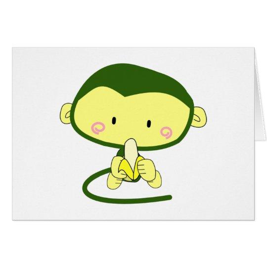 Cute Cartoon Monkey Eating A Banana Card