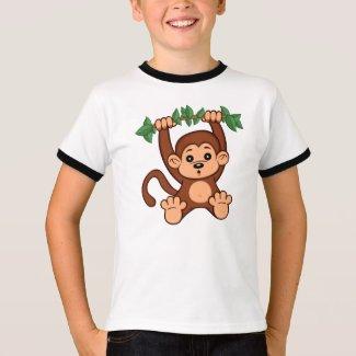 Cute Cartoon Monkey Kid's Ringer T-Shirt