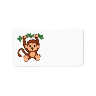 Cute Cartoon Monkey Label