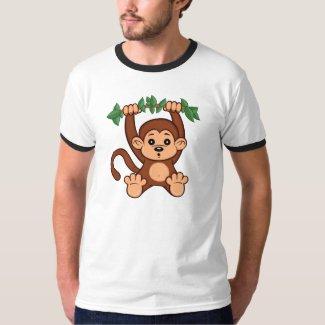 Cute Cartoon Monkey Men's Ringer T-Shirt