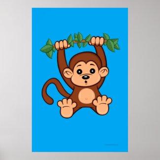 Cute Cartoon Monkey Poster