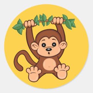 Cute Cartoon Monkey Sticker