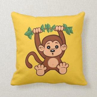 Cute Cartoon Monkey Throw Pillow
