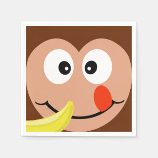 Cute Cartoon Monkey With Banana Paper Napkins