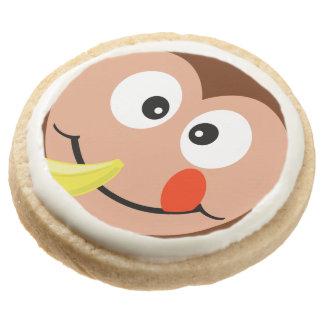 Cute Cartoon Monkey With Banana Party Treats Round Shortbread Cookie