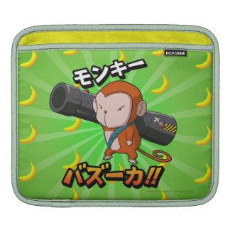 Cute Cartoon Monkey with Bazooka and Bananas iPad Sleeves
