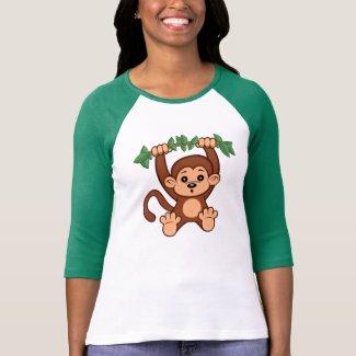 Cute Cartoon Monkey Women's 3/4 Sleeve T- Shirt