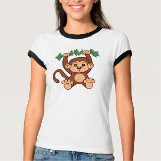 Cute Cartoon Monkey Women's Ringer T-Shirt