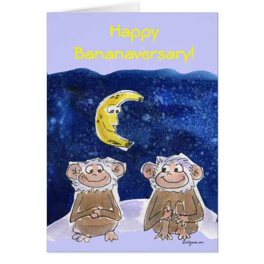 Cute Cartoon Monkeys Anniversary Card