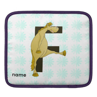 Cute Cartoon Monogram Pony F iPad Sleeve