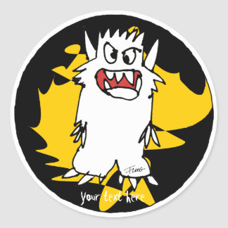 Cute Cartoon Monster Gold Personalized Labels Classic Round Sticker
