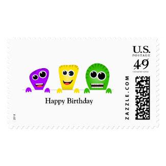 Cute cartoon monsters gang postage stamp