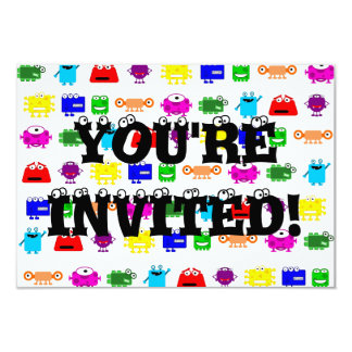 Cute Cartoon Monsters 3.5x5 Paper Invitation Card