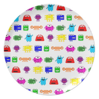 Cute Cartoon Monsters Melamine Plate