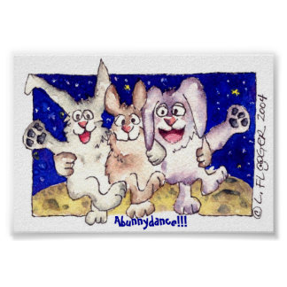 Cute Cartoon Moon Bunnies Poster Print