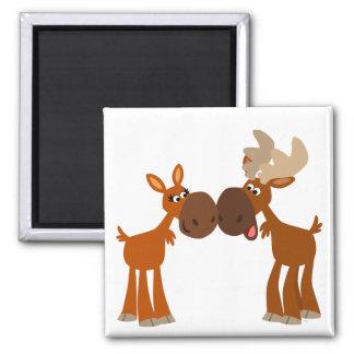 Cute Cartoon Moose Couple in Love Magnet