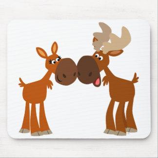 Cute Cartoon Moose Couple in Love Mousepad