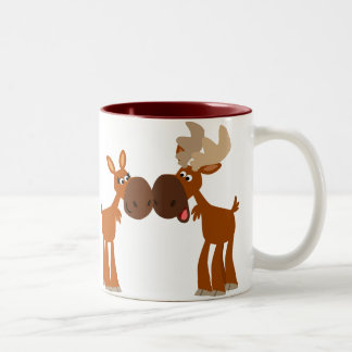 Cute Cartoon Moose Couple in Love Mug