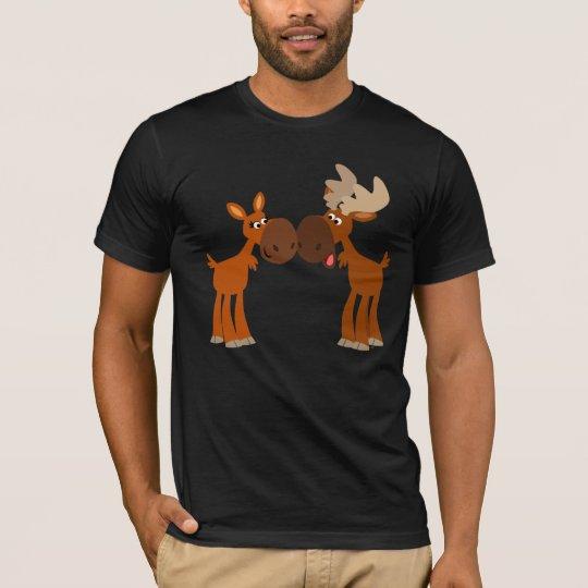 Cute Cartoon Moose Couple in Love T-Shirt