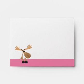 Cute cartoon moose - pink and white envelope
