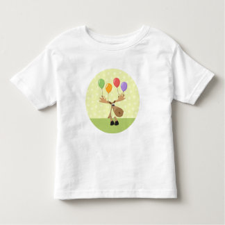 Cute cartoon moose with colorful baloons t-shirt