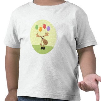 Cute cartoon moose with colorful baloons shirts
