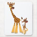 Cute Cartoon Mother Giraffe and Calf Mousepad