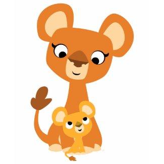 Cute Cartoon Mother Lion and cub- Children T-shirt shirt