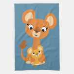 Cute Cartoon Mother Lioness and Cub Kitchen Towel