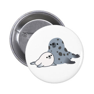 Cute Cartoon Mother Seal And Pup Button Badge