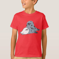 Cute Cartoon Mother Seal And Pup Children T-Shirt