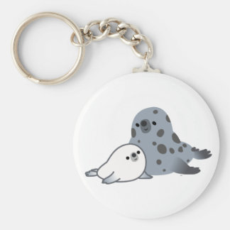 Cute Cartoon Mother Seal And Pup Keychain