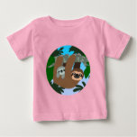 Cute Cartoon Mother Sloth And Baby Baby T-Shirt