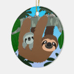 Cute Cartoon Mother Sloth And Baby Ceramic Ornament