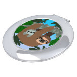 Cute Cartoon Mother Sloth And Baby Compact Mirror