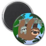 Cute Cartoon Mother Sloth And Baby Magnet