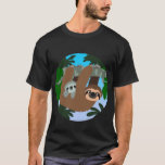 Cute Cartoon Mother Sloth And Baby T-Shirt