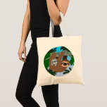 Cute Cartoon Mother Sloth And Baby Tote Bag